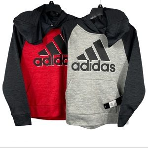 Adidas Youth Tech Hoodies Red Gray Heather Black